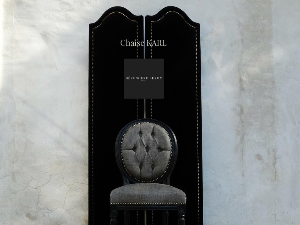 Chaise medaillon laquée noir en lin noir