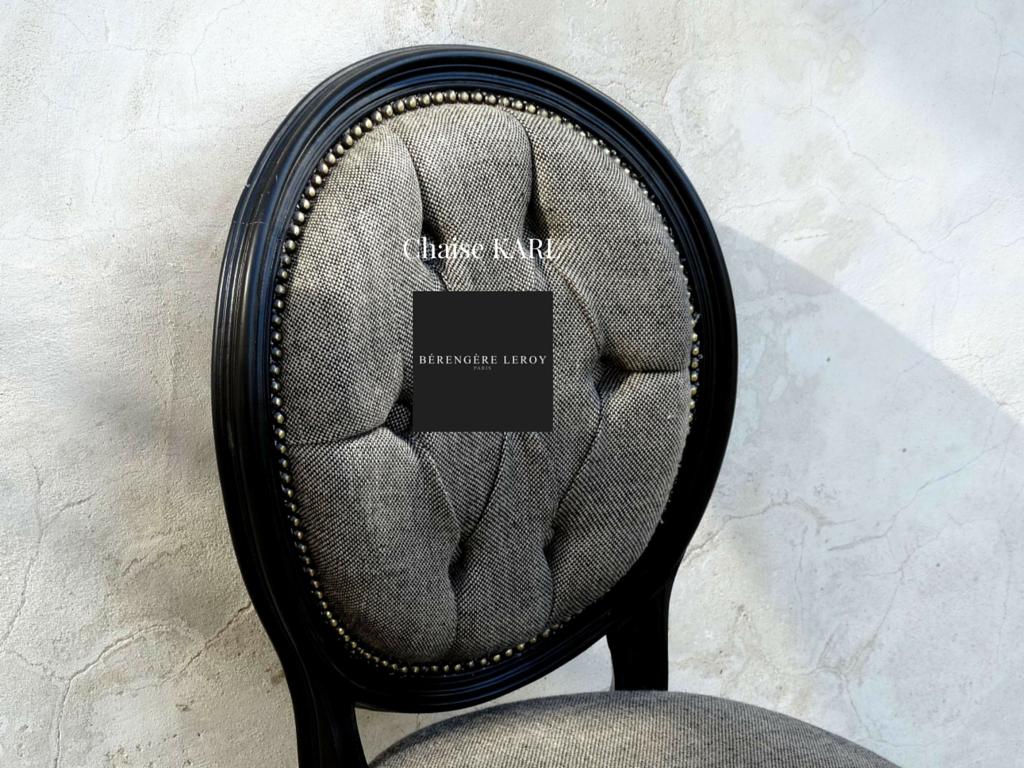 Chaise medaillon laquée noir en lin argent
