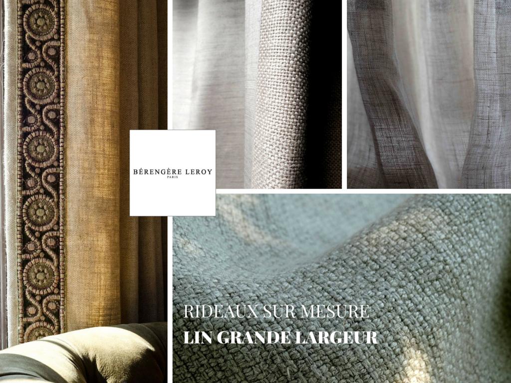 rideaux sur mesure en lin gris grande largeur paris
