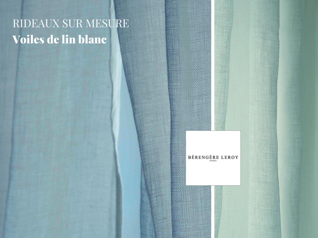 Rideaux sur mesure en voile de lin grande largeur blanc à Nice