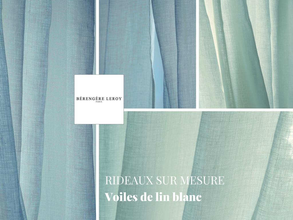 Rideaux sur mesure en voile de lin grande largeur blanc catalogue mobilier sur mesure paris for Rideaux en voile