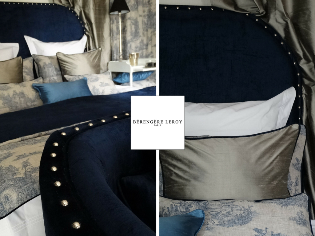 tête de lit sur mesure en velours bleu et soie l'isle sur la sorgue
