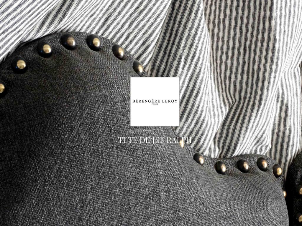 Tête de lit sur mesure cloutée en lin gris valbonne côte d'azur
