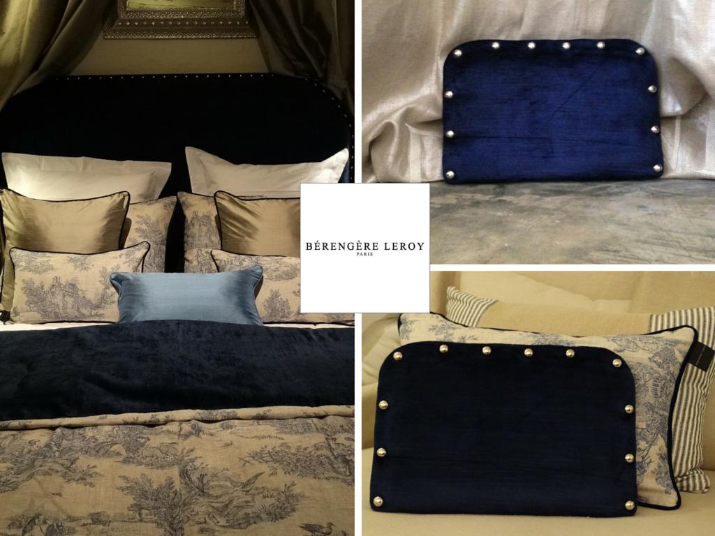 Tête de lit sur mesure cloutée en velours bleu marine mougins côte d'azur