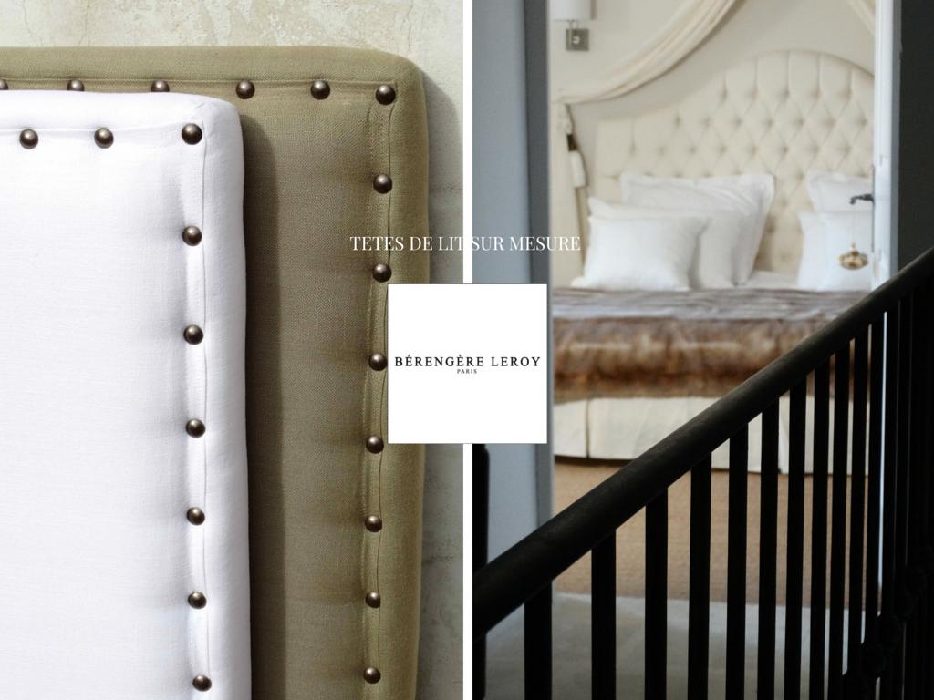 Tête de lit sur mesure cloutée en lin taupe Provence Côte d'azur