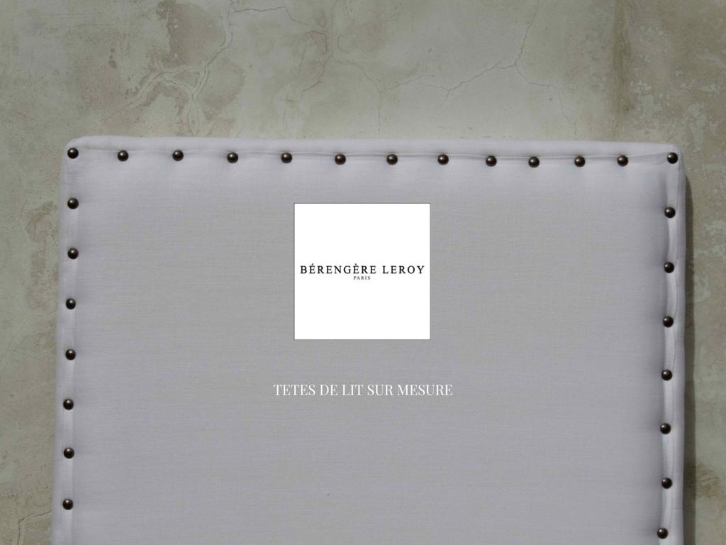 Tête de lit sur mesure cloutée en lin blanc Provence Côte d'azur