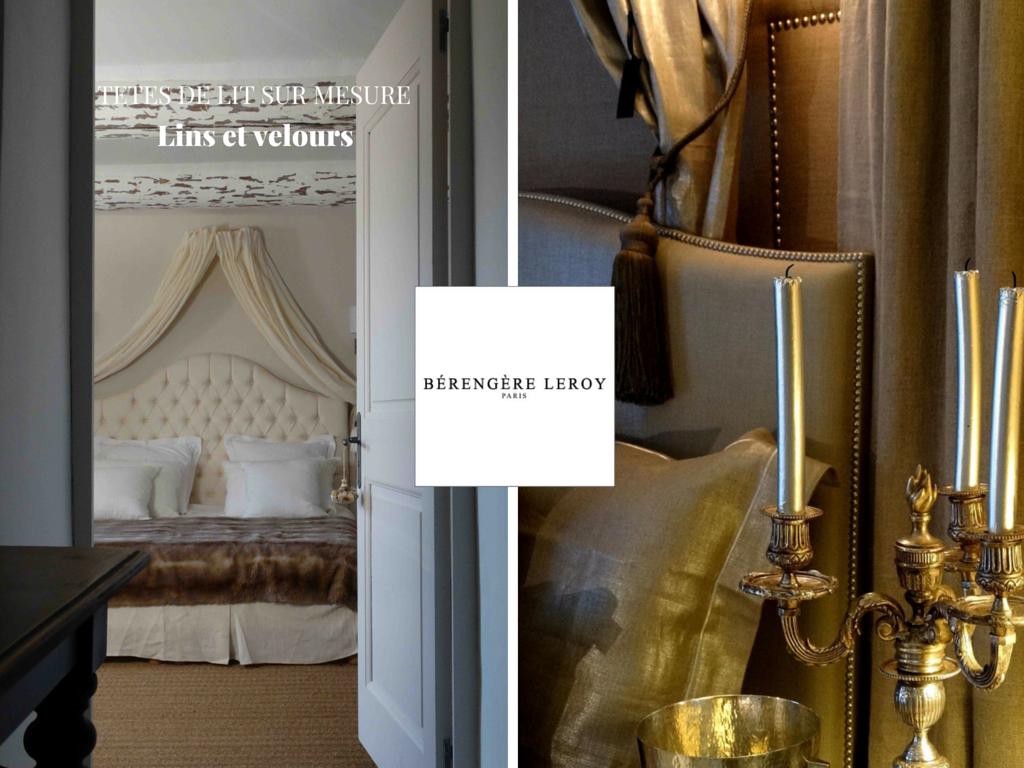 Tête de lit sur mesure capitonnée ou cloutée en lin beige Provence Côte d'azur