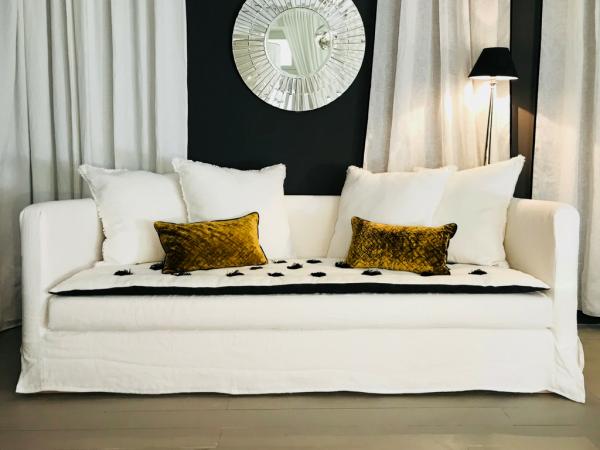 canapé en lin froissé blanc Lyon