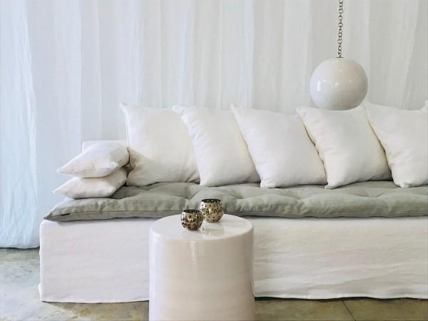canapé sur mesure lin blanc Saint Tropez