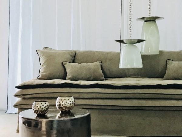 canapé sur mesure lin lavé beige taupe Paris