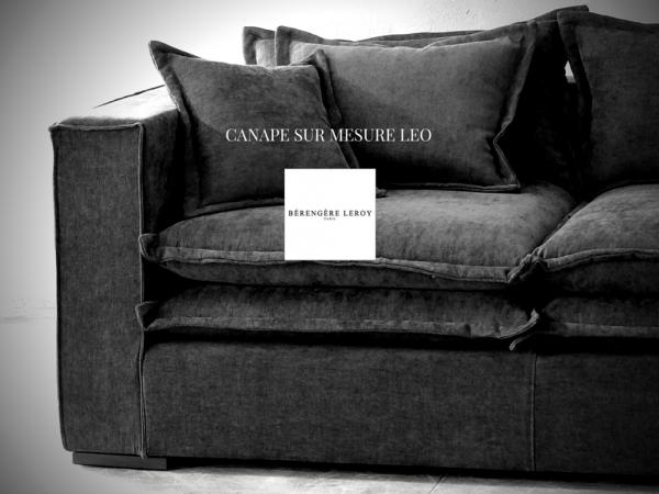 Canapé sur mesure en lin lavé gris anthracite Lyon
