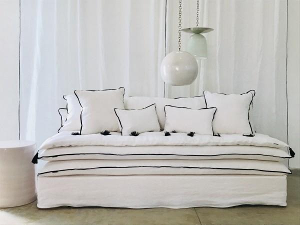 canapé sur mesure lin lavé blanc Côte d'azur