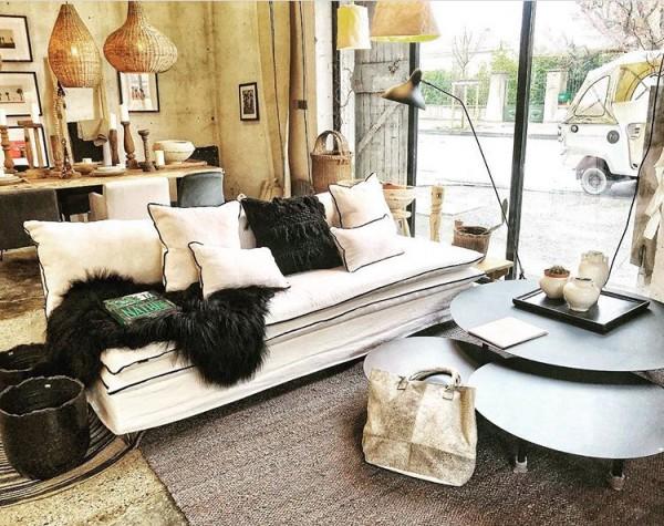 Canapé sur mesure  en lin beige écru Lyon