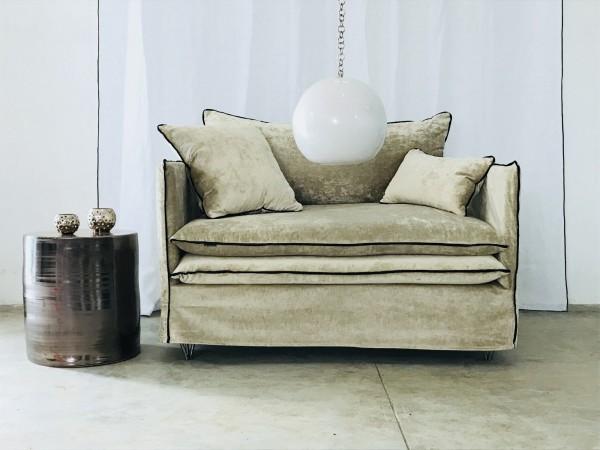 Canapé sur mesure velours lavé beige ciment Paris