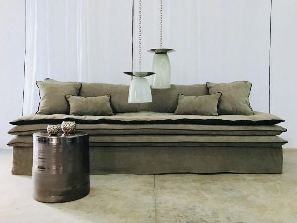 canapé sur mesure lin chenille soft washed beige ecorce Lyon