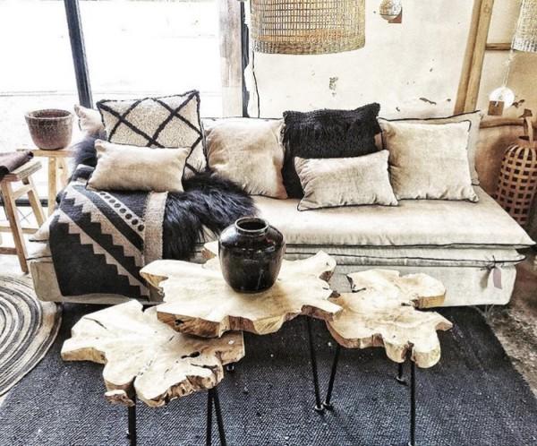 Canapé sur mesure lin chenille soft washed beige ciment Lyon