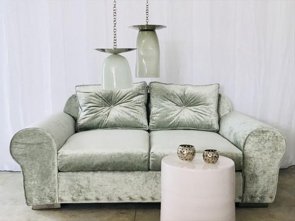 Canapé sur mesure velours vert celadon Lyon