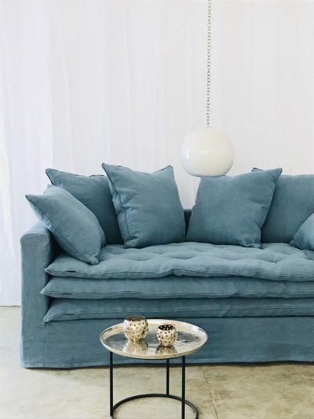 canapé sur mesure lin lavé bleu glacier Paris