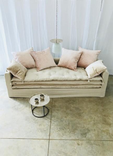 canapé sur mesure lin lavé beige ficelle Paris