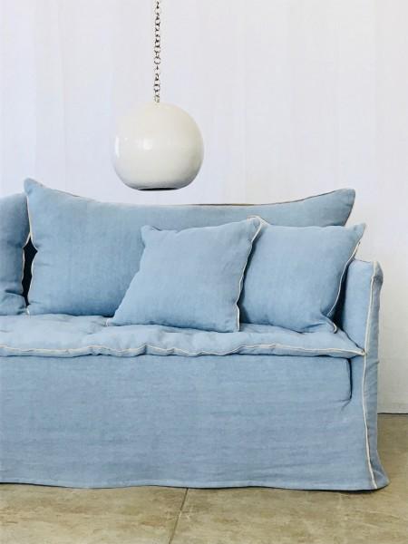 canapé sur mesure lin lavé bleu azur Paris