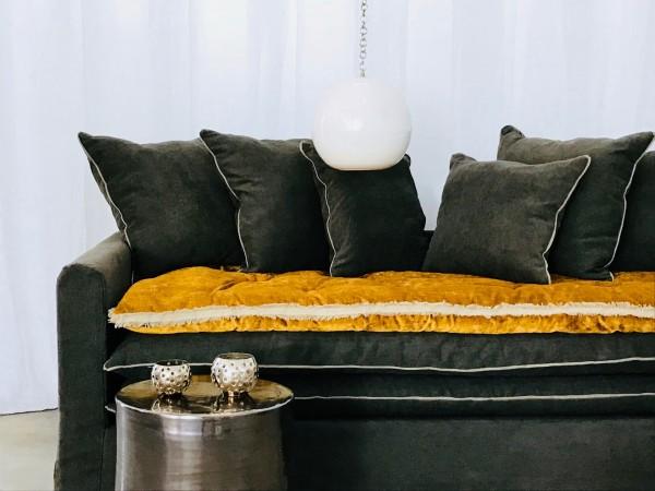 Canapé sur mesure lin lavé gris carbone Paris