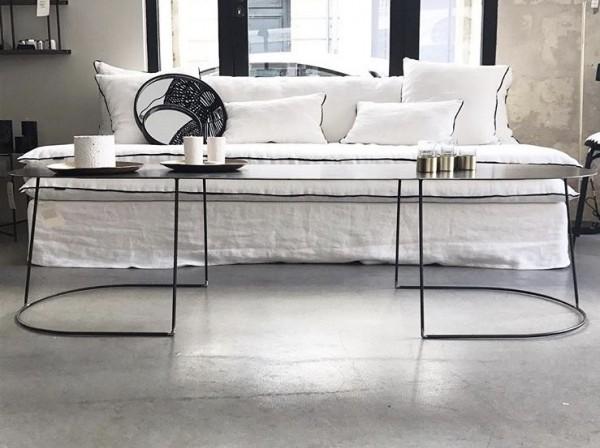 canapé sur mesure en lin lavé blanc Corse