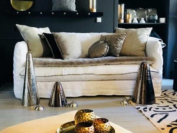 canapé sur mesure NUAGE en lin froissé blanc Paris