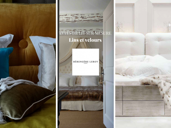 Tête de lit sur mesure capitonnée en velours beige
