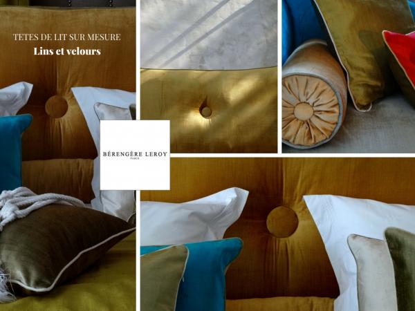 Tête de lit sur mesure en velours orange Marseille
