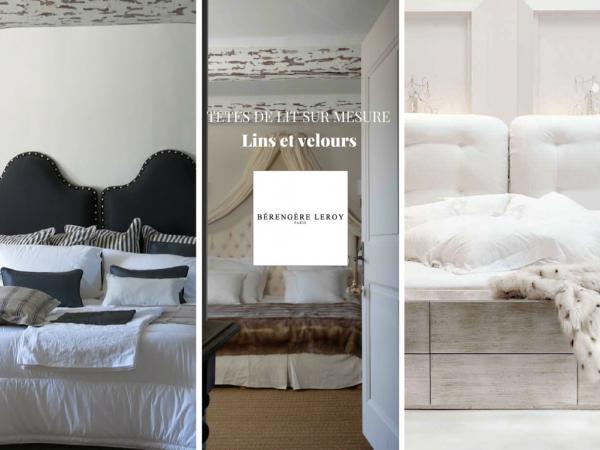 Tête de lit sur mesure en velours blanc Lausanne