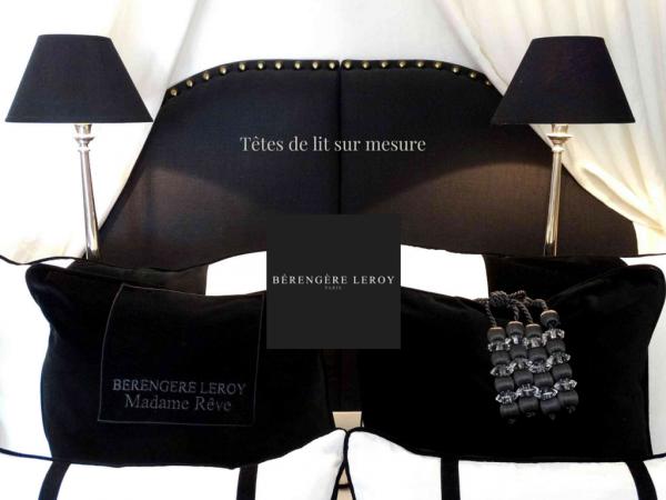 Tête de lit sur mesure en coton noir Nice
