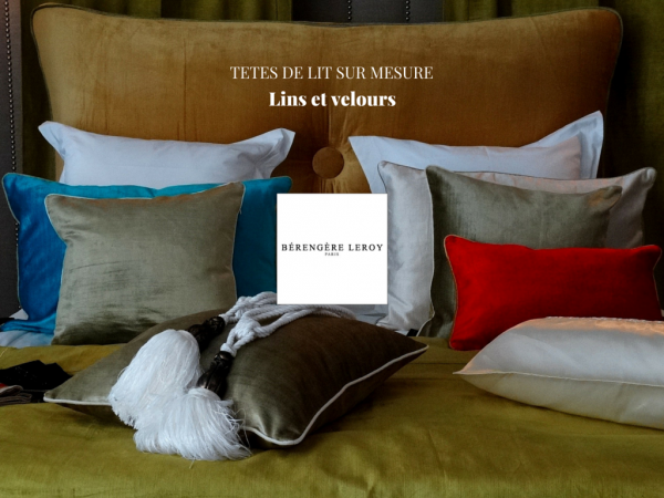 fabrication de têtes de lit sur mesure en velours rouge ou velours orange