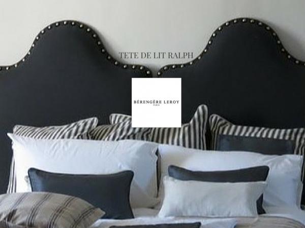 Tête de lit sur mesure cloutée en lin bleu Neuilly sur Seine