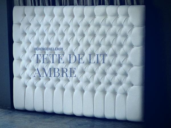 Tête de lit sur mesure capitonnée en lin blanc