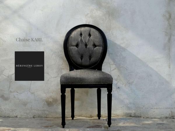 Chaise medaillon laquée noir en velours noir