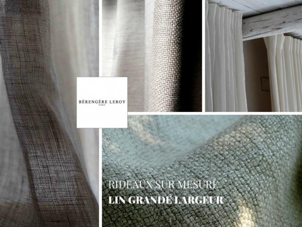 rideaux sur mesure en lin blanc grande largeur paris
